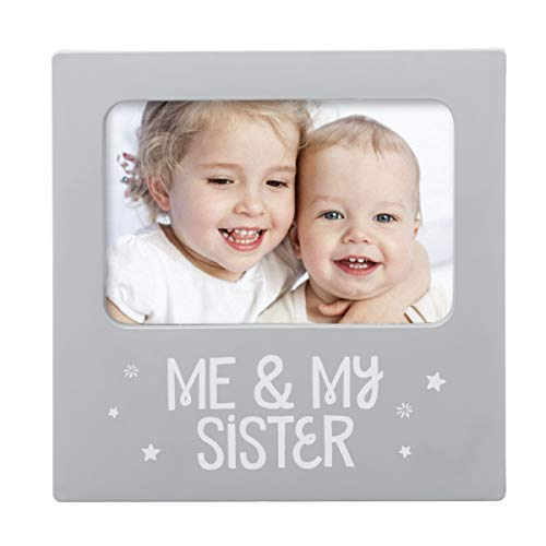 "Tiny Ideas Moldura de lembrança ""Me & My Sister"", presente para irmã, Big Brother Big Sister Gifts, cinza"