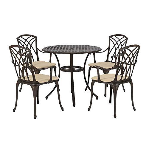 N/Z Wohnausstattung Sonnenschirm Sonnenschirm Regenschirm PananaHome Gusstisch und Stühle aus Aluminiumguss 4-Sitzer-Terrassenmöbel-Set mit Kissen Home Outdoor-Balkon