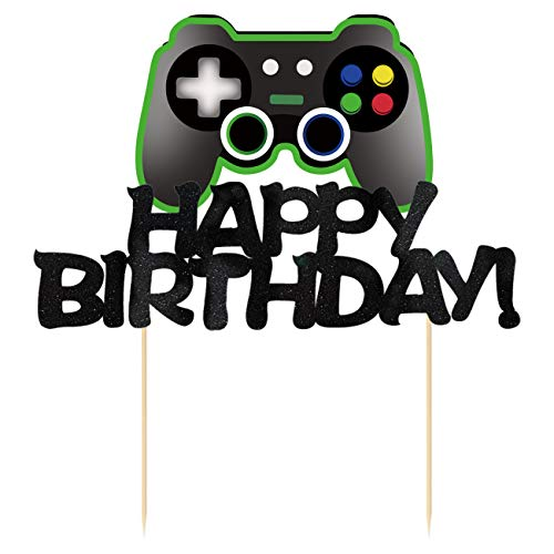 Video Game Cake Toppers - Game Controllers Happy Birthday Cake Decorations Picks for Kids Gaming Themed Birthday Party