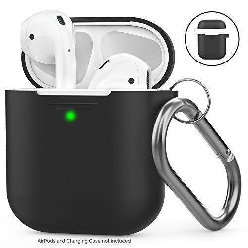 Ahastyle AirPods Hülle Silikon - Voller Schutz mit Karabiner Kompatibel mit Apple Airpods 2 & 1  Front-LED Sichtbar & Unterstützt Drahtloses Laden] (Mit Karabiner, Schwarz)