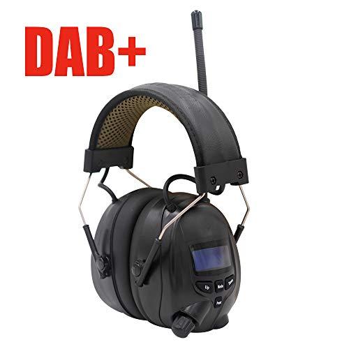 Gehoorbescherming met FM/DAB + digitale radio, geïntegreerde Bluetooth-technologie en microfoon, oplaadbare gehoorbescherming voor werkgeluiden, maaien / zagen enz., SNR 30dB (zwart, Freesize)