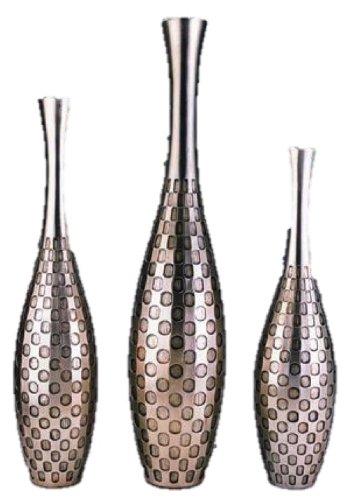 ORE International K-4212V Polka Dot Vase Set, Silver