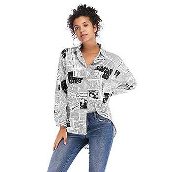 Women Loose Lapel Neck Shirts,Newspaper Print Blouse Long Sleeve Button Tops Black