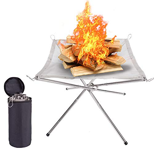SUCHDECO Portable Fire Pit Outdoor for Camping, Small Size16.5 Inch Collapsing Steel Mesh Fireplace, Foldable Camping Fire Pit for Camping Backyard Beach and Wood Burning Camping, Barbecue, and Garden