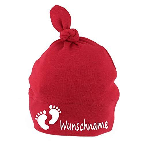 Elefantasie Baby Mütze mit Knoten personalisiert mit Namen oder Text aus Baumwolle Motiv Füße rot