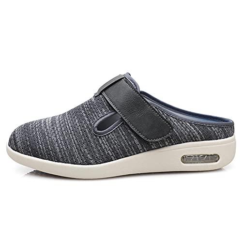 CCSSWW Zapatillas DiabéTicas Ajustables,Zapatos de Verano de Verano de Verano Ligero Transpirable-Gris Oscuro_38,Zapatos para Caminar Extra Anchos con Cierres