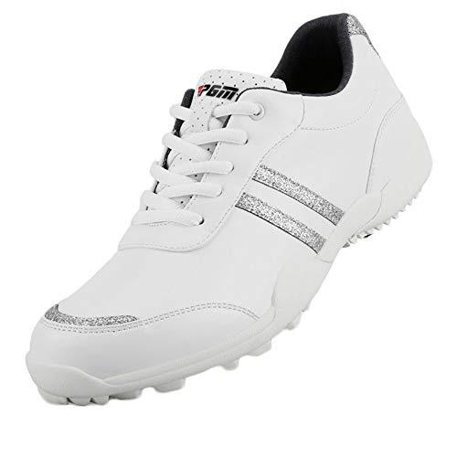 Zapatos de Golf Impermeables para Mujer,Zapatillas de Golf Transpirables Y Cómodas Zapatillas Casual Ultraligeras,con Clavos...