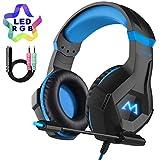 Mpow EG9 Gaming Headset für PS4, 7 Farbe RGB-LED Licht, Surround-Sound PC Gaming Headset, Super Leicht Stereo Headset Over-Ear-Gaming Kopfhörer für Xbox One Computer Mac Handy Nintendo Switch