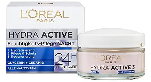 L'Oréal Paris Nachtpflege für das Gesicht, Anti-Aging Feuchtigkeitspflege mit Omega 3 und 6,...