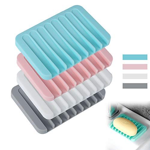 Jabonera de silicona de 4 piezas con desagüe, jabonera de silicona con pomos, jabonera de plástico de colores con cesto de drenaje, para ducha, cocina, mostrador