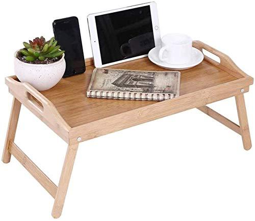 Bandeja de Cama, Mesa con Patas Plegables, Mesa de Cama para el Desayuno en la Cama o para Usar como Mesa de TV, Mesa de Dibujo, Bandeja para computadora portátil, Bandeja para refrigerios con bambú
