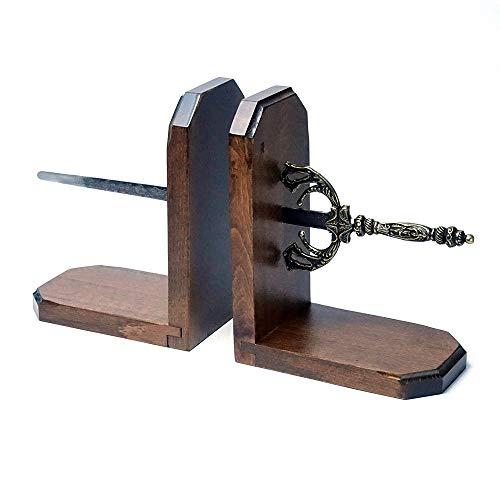 ヨーロッパインテリア カサピース オブジェ イタリア製 西洋武具 ブックエンド 刀剣 木製 本立て Mサイズ giu-53m