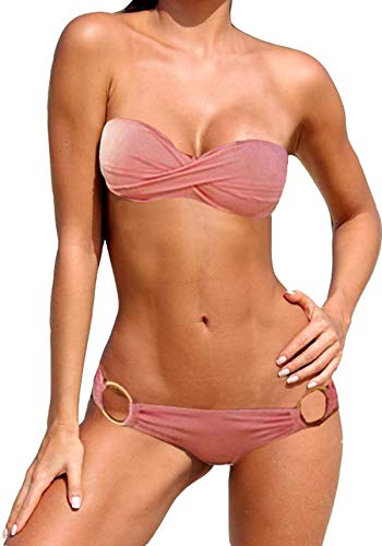 Damen Bikini Set Bandeau Oberteil Badeanzug Twist Push Up Gepolsterter Bikini Sexy 2 Teiler (L (fällt aus: M 38), Rose (W399432))