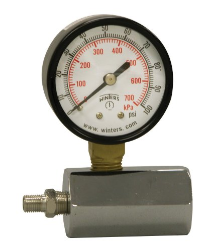 Winters PET Series Steel Dual Scale Gas Test Pressure Gauge with Polycarbonate Lens, 0-100 psi/kpa, 2' Dial Display, +/-3-2-3% Accuracy, 3/4' FNPT Connection