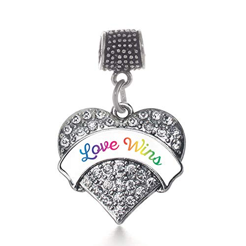Inspired Silver - Love Wins Memory Charm for Women - Silver Pave Heart Charm for Bracelet with Cubic Zirconia Jewelry