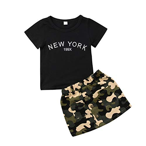 Fashion Toddler Baby Girls Camouflage Clothes Outfits Black Tops T-Shirt and Skirts Summer Clothing Set 6-12 Months