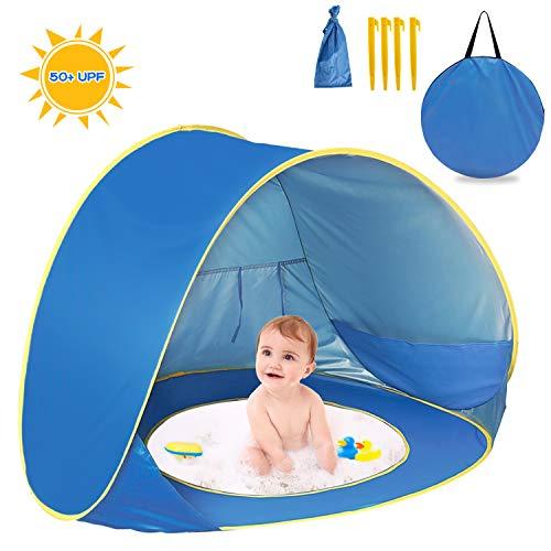 Tente de plage Pop Up pour enfants, bébé Tente de plage automatique portable anti-UV Abri solaire Intérieur et...