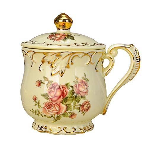 ufengke-ts Europäischer Retro-Stil Keramiktasse mit Rose, Deckel,Große Nachmittagstee Schalen Tasse,Kleines Geschenk 350ml