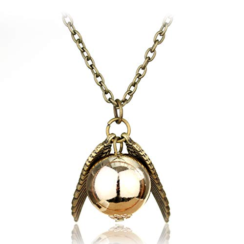 DYKJ Vintage Movie Star Jewelry Chain Necklace The Deathly Hallows Wing Charm Golden Snitch Neck Laces Colgantes Mujeres Hombres Collar