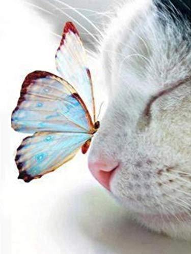 QMGLBG Puzzle de Madera de 500 Piezas Gato Mariposa Rompecabezas Juguete para niños Adultos Juego Educativo Regalo de Bricolaje Decoración del hogar Fiesta Niño Niña Cumpleaños