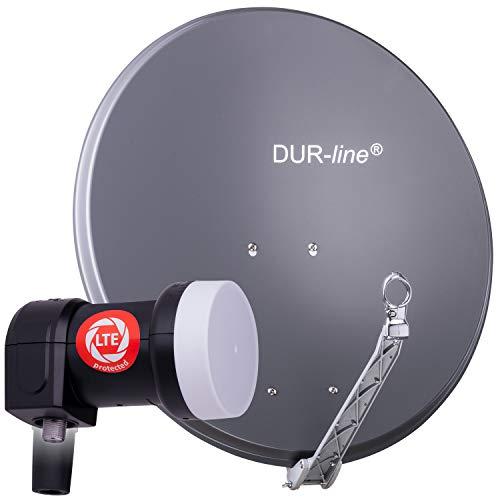 DUR-line 1 Teilnehmer Set - Qualitäts-Alu-Satelliten-Komplettanlage - Select 75cm/80cm Spiegel/Schüssel Anthrazit...