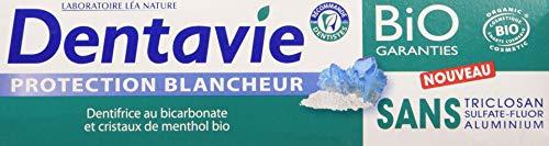 avis dentifrice bio professionnel DENTAVIE blanchit le dentifrice avec des cristaux de bicarbonate / menthol bio