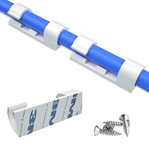 80 PCS Clips Cables Adhesifs Rangement de Cables Fixation Auto Collant Avec Premium Adhesif et vis Gestion de Cable Support Organiseur de Fils Electriques pour TVPCBureauBlanc