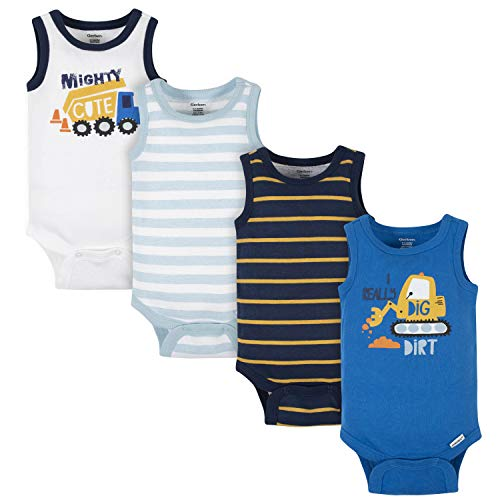 Gerber Baby Boys' 4-Pack Sleeveless Onesies Bodysuit, Blue Digger, 18 Months