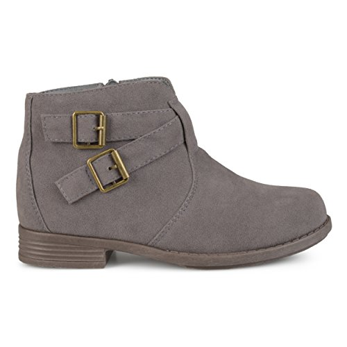 Brinley Co. Kids Toddler Little Kids Ankle Strap Buckle Faux Suede Boots Grey, 12 Regular US