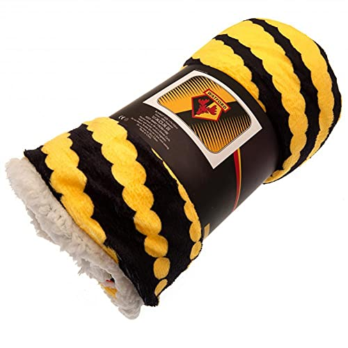 Watford FC Asunder Fleece Blanket 117x152 cm Yellow/Black - Official Licensed Merchandise