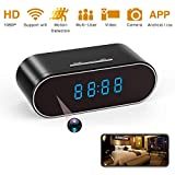 Spy Camera, 1080P Hidden Camera Clock WiFi Video Recorder 140° Wide Angle Lens Wireless IP Cameras for Indoor Home Security Monitoring Nanny Cam with Night Vision Motion Detection Upgraded APP