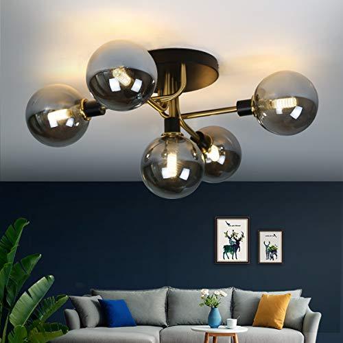 ZMH Deckenleuchte Deckenlampe mit 5-Flammig G9 Fassung aus Glas Kugel Wohnzimmerlampe Schlafzimmerleuchte Innenleuchte Kronleuchte Kinderzimmer Lampe Esszimmerlampe