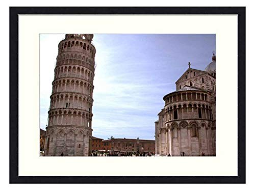 Asommet Leaning Tower of Pisa - Solid Wood Framed Wall Art Print Picture Home Decor (20x14 inches)