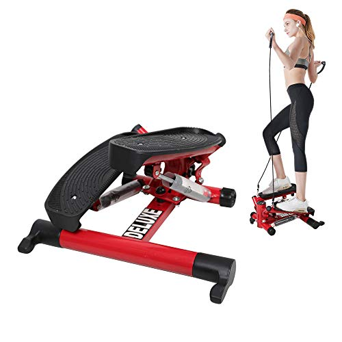 Livebest Adjustable Mini Stepper Indoor Stair Stepper Twist Stepping Machine Aerobic Trainer with Resistance Bands and LCD Display for Home,Office and Gym