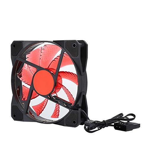 Ventilador de Caja de computadora de 120 mm, Ventilador de Caja de enfriamiento, Ventilador de chasis de PC Enfriador de computadora(Rojo)