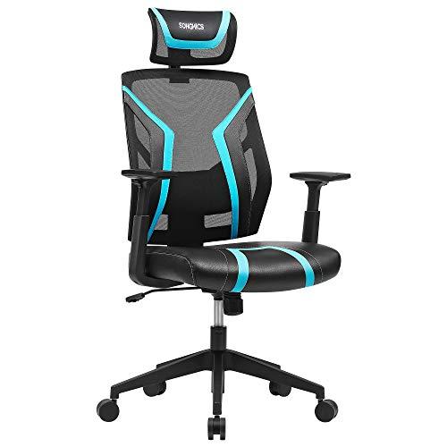 SONGMICS Bürostuhl, ergonomischer Drehstuhl, neigbar, verstellbare Kopfstütze, Armlehnen und gepolsterte Lendenstütze, Gamingstuhl, bis 120 kg belastbar, schwarz-blau OBN059B01