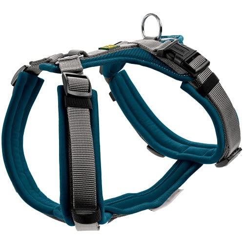 HUNTER Maldon Hundegeschirr,Y-Form, weich gepolstert, ideal für sportliche Aktivitäten Farbe Petrol/grau, Größe M-L
