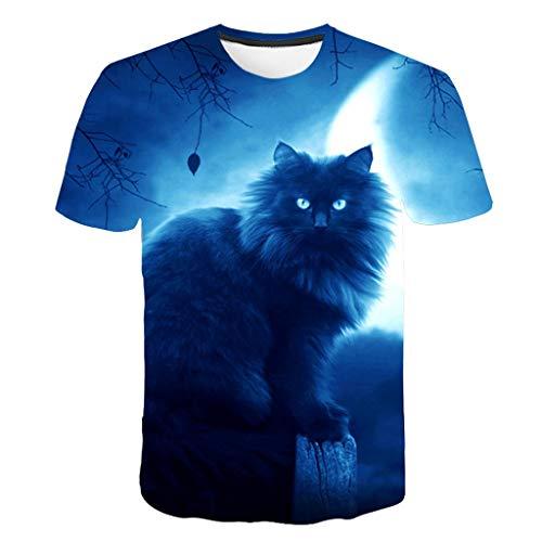 LXZWAN Cómoda Camiseta Creativa de Manga Corta, Frescos de Moda Unisex de Manga Corta de Camisas 3D Creativo Impreso Gato Negro en El Claro de Luna Gráficos Manera de La Personalidad Camisetas