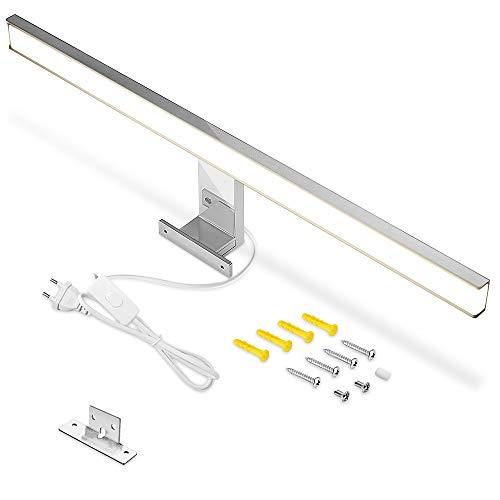 Lámpara LED para espejo de baño, 60 cm, IP44, blanco cálido, 3000 K, 10 W, 900 lm, lámpara de baño con interruptor, iluminación de baño
