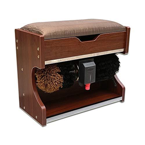 YFC - Pulidor automático de zapatos de 60 W, cepillo de inducción automática, banco de zapatos, cepillo eléctrico para zapatos, hogar, eliminación de polvo, aceite portátil (color: roble rojo)