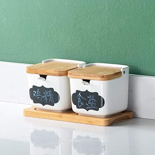 Kruidenpotje doos spice keukengerei, vaas met keramische kookplaat kruiden Chili Oil Msg zetten zoutvaatjes, kruidflessen,B
