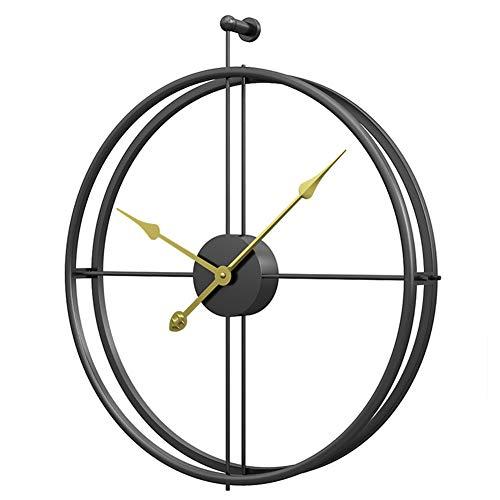 WJLGKSZG Calidad Silent Wall Reloj Redondo Elegante Estilo Europeo Reloj Ideal para Cualquier habitación en el hogar Comedor Cocina Oficina Oficina. Black, Gold Pointer