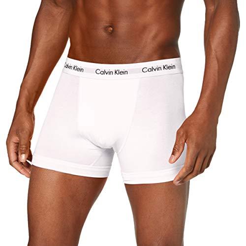 Calvin Klein Herren - 3er-Pack mittlere Taille Hüft-Shorts - Cotton Stretch, Mehrfarbig (White/Red Ginger/Pyro Blue I03), X-Small (Herstellergröße: XS)