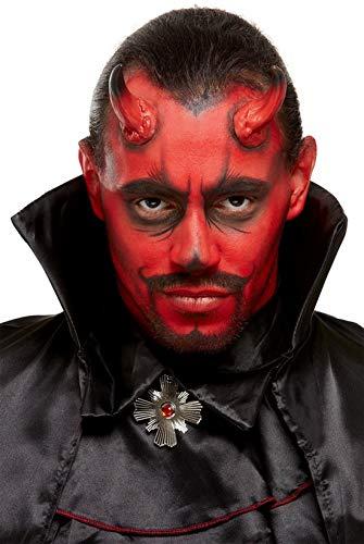 Halloweenia - Herren Teufel Dämonen Devil Make Up Set Kit mit Schminke und Hörnern, Kostüm Accessoires Zubehör, perfekt für Halloween Karneval und Fasching, Rot