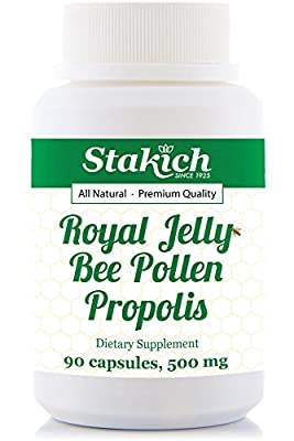 Stakich Royal Jelly Bee Pollen Propolis Capsules (90 Caps, 500 MG) - Top Quality