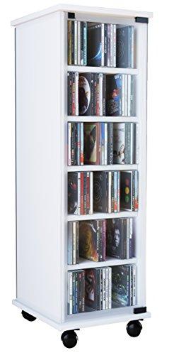 VCM CD DVD Regal Turm Tower Vitrine Schrank Möbel mit Rollen Drehbar Farbwahl 98 x 31 x 35 cm