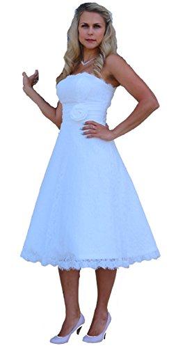 Unbekannt Brautkleid Spitze Wadenlang Tee Länge Hochzeitskleid XS S M L XL XXL XXXL XXXXL Braut Kleid Standesamt Weiß Ivory (46, Ivory)