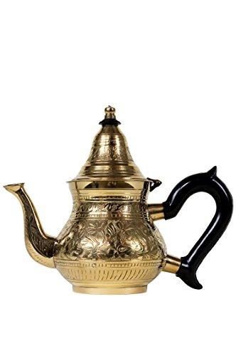 Marokkanische Teekanne aus Messing 400ml mit Sieb und Kunststoffgriff | Orientalische Kanne Bejan 400ml goldfarbig mit Deckel | Verschiedene Grössen | (400ml)
