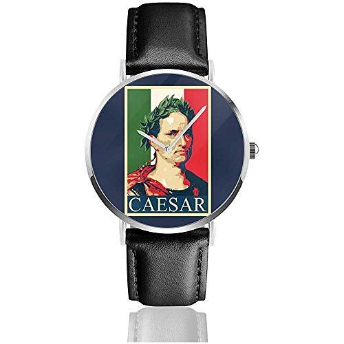 Unisex Business Casual Julius Caesar Pop Art Uhren Quarz Leder Uhr