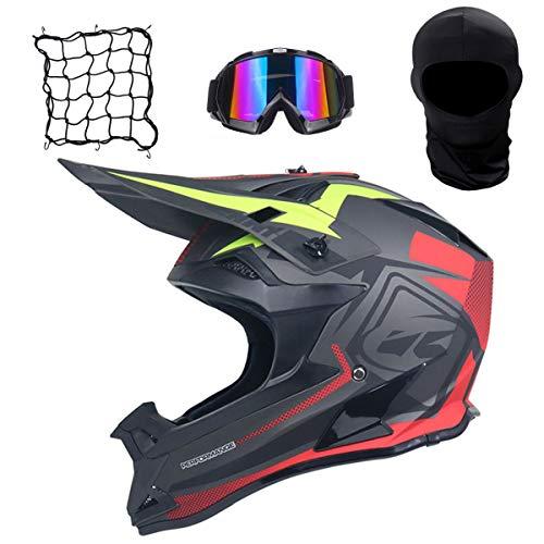 Moto Casque Adulte Motocross Casques Lunettes Masque Net Pocket Enfant Quad Bike VTT Go Karting Off Road Certifié Helmet 4 pièces Ensemble,L